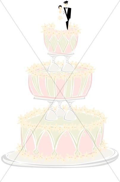 Fancy Wedding Cake With Glass Tiers