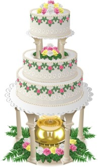Extravagant Anniversary Cake with Golden Fountain