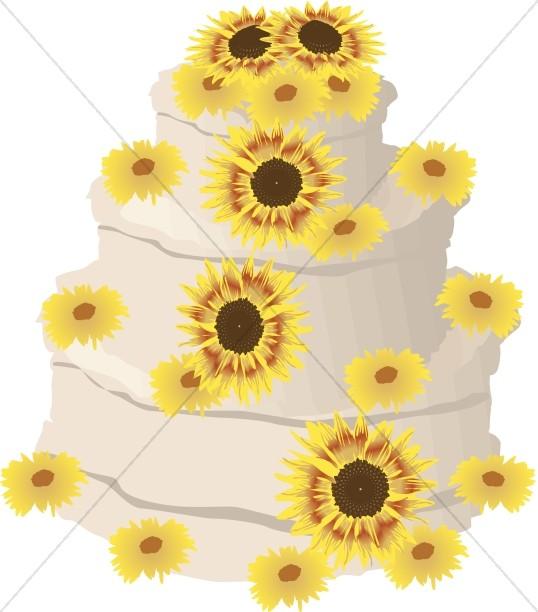 Sunflower Decorated Anniversary Cake
