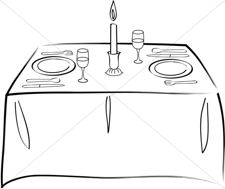 Table Set For Two Church Food Clipart