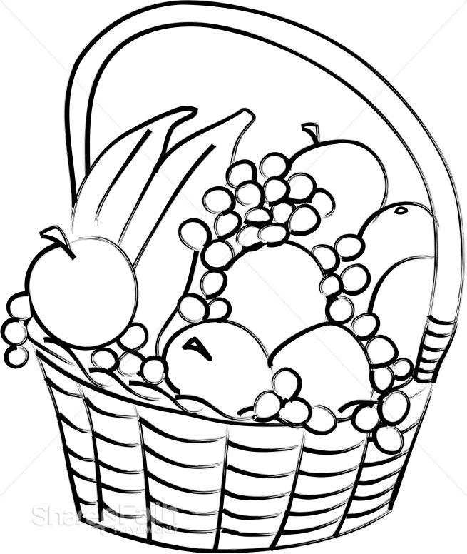 Basket Clip Art Black And White : Fruit gift basket church food clipart
