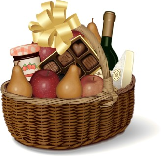 Picnic Basket Gift with Fruits and Candies