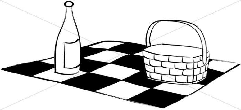 Black and White Picnic Blanket Basket and Wine