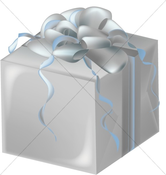 Silver Gift Box with Bluish Bow