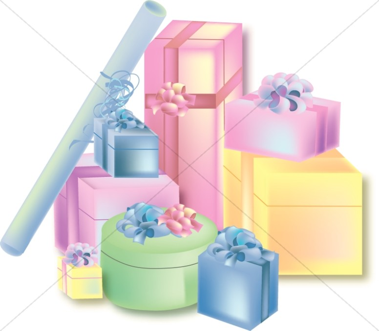 Stack Of Party Presents Church Birthday Clipart
