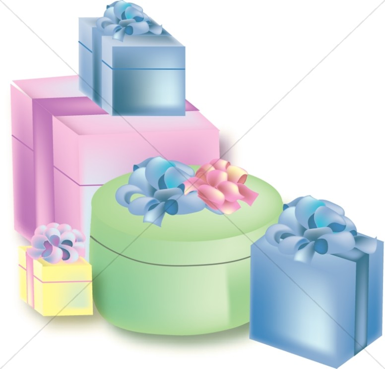 Stack Of Pastel Birthday Presents Church Birthday Clipart