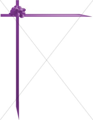 Purple Ribbon Frame with Pulled Bow