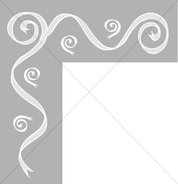 Gray Bar with Ribbon Swirls Corner