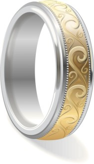 Engraved Gold and Platinum Wedding Band