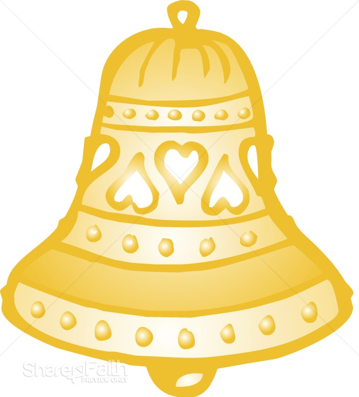 Wedding Bell With Hearts