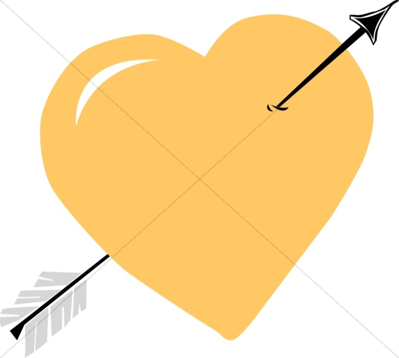 Gold Heart with Black Arrow