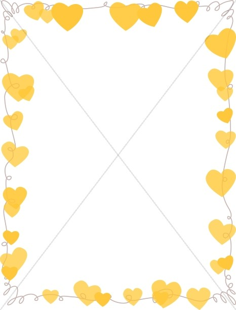 Gold Hearts Hanging Page Frame