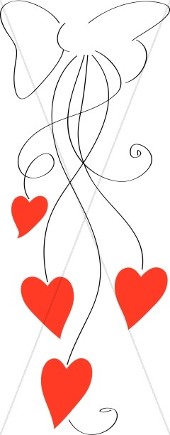 Line Art Ribbon Bow with Red Hearts