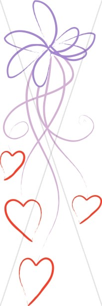 Stylized Purple Line Art Ribbon with Hearts
