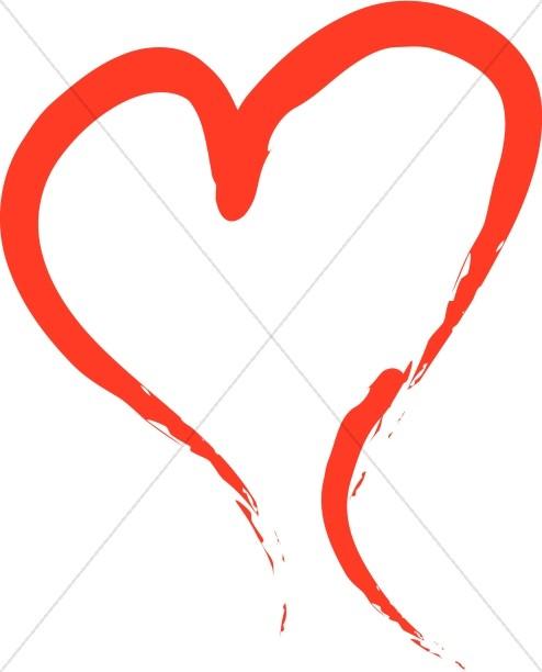 Brushstroked Red Heart