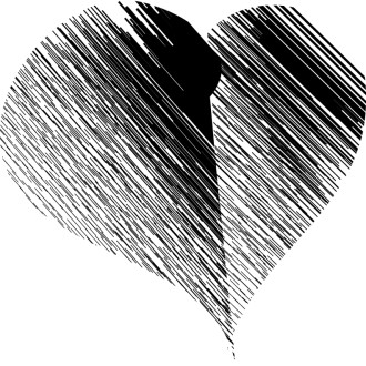 Abstract Heart in Black and White