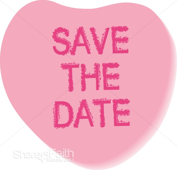 Save the Date Candy Heart Christian