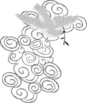 Stylized Dove with Olive Branch in front of Cloud