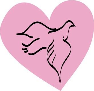 Dove Outline on Pink Heart