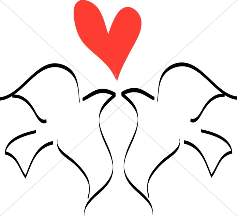 Love Birds with Heart Line Drawing