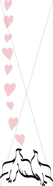 String of Hearts Above Two Doves
