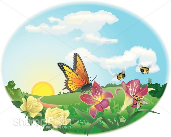 Spring Garden Scene   Butterfly Clipart