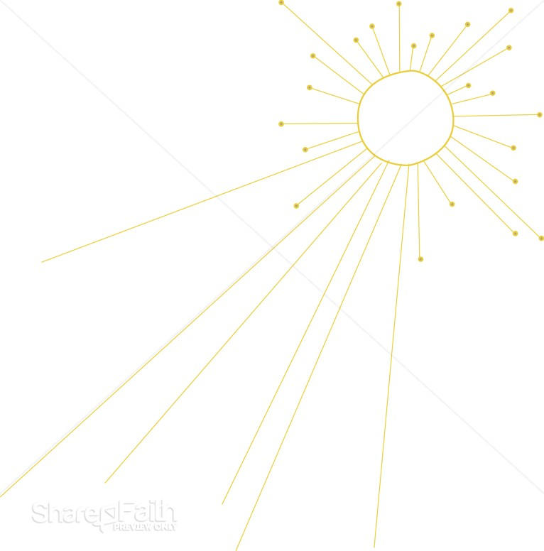 Shining Sun Outline with Rays