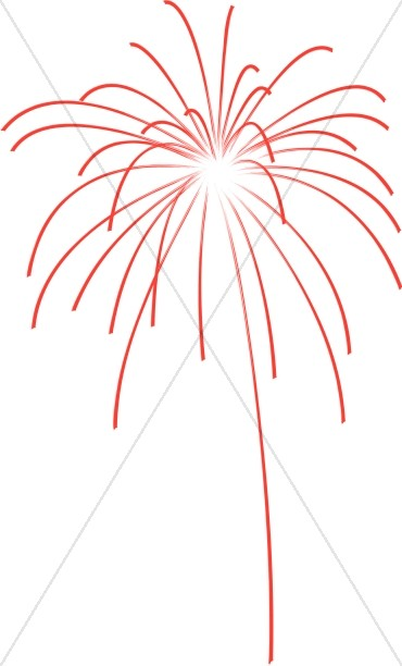 Red Fireworks Explosion