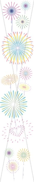 Column of Colorful Fireworks