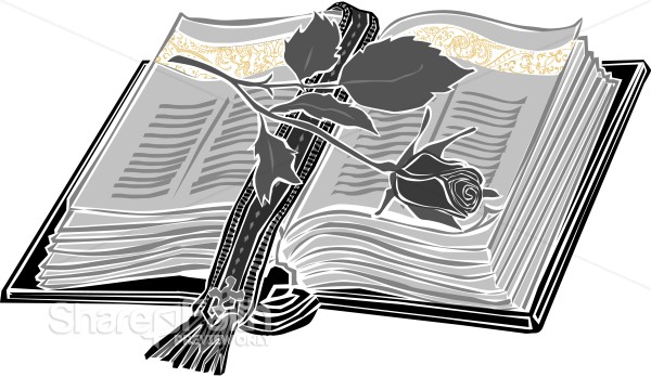 BW Bible with Stylized Rose
