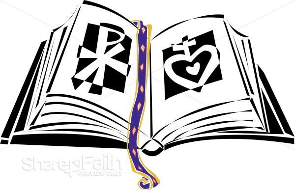 Bible with Chi Rho and Sacred Heart