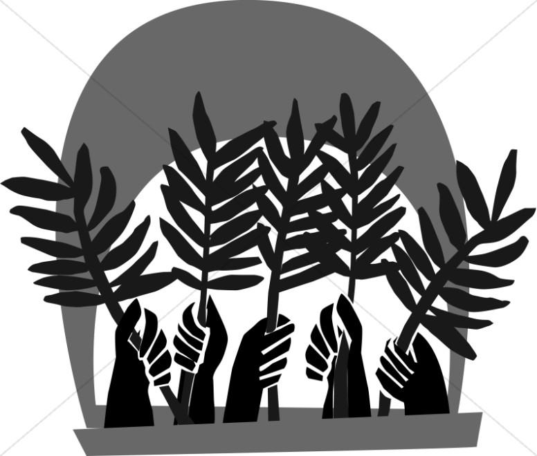 Hands Waving Palm Fronds