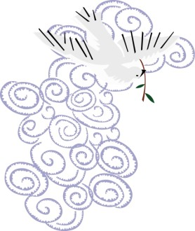 Dove with Olive Branch in Purple Clouds
