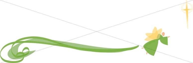 Stylized Green Swirl Angel with Cross