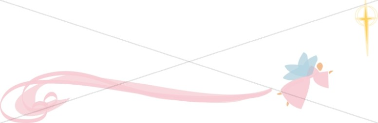 Stylized Pink Swirl Angel with Cross