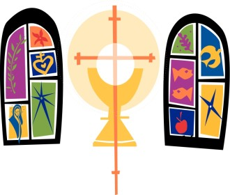 Two Colorful Stained Glass Windows and Communion Chalice
