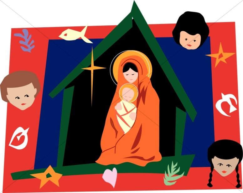 Nativity Scene with Symbols