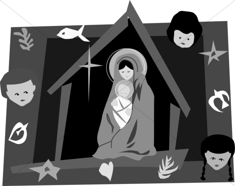 Black and White Nativity Scene