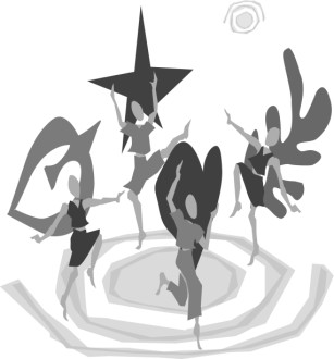 Four Dancers in Greyscale