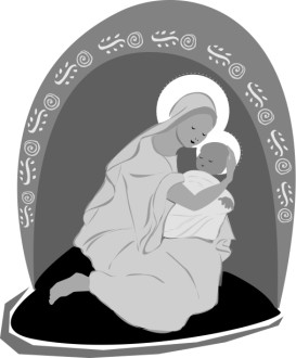Mary Embraces the Newborn Babe