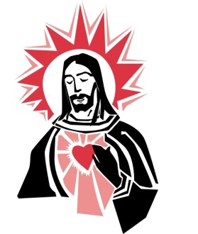 Jesus with a Red Heart of Love