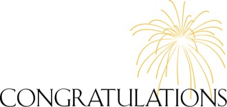 Congratulations Lettering with Gold Firework