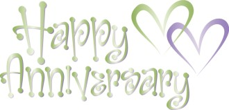 Cute Green Happy Anniversary Wordart with Hearts