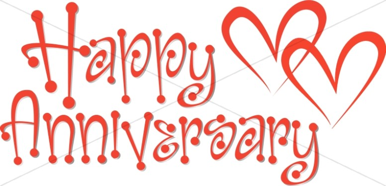 Cute Red Anniversary Wordart with Hearts