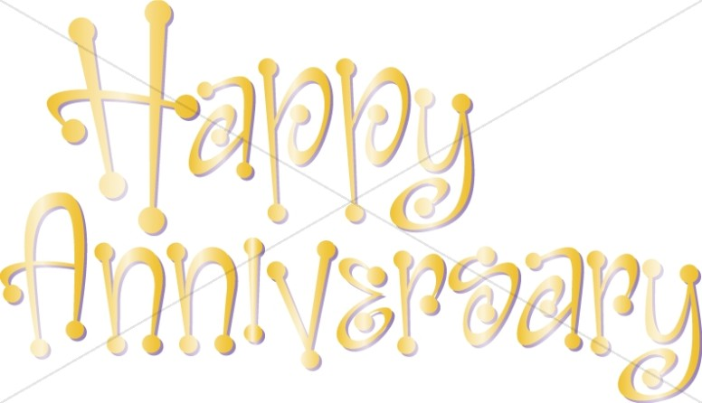 Golden Happy Anniversary Wordart