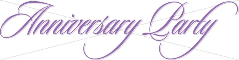 Purple Anniversary Party Flowing Script