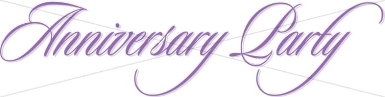 Purple Anniversary Party Flowing Script