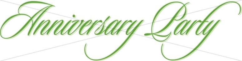 Green Anniversary Party Flowing Script