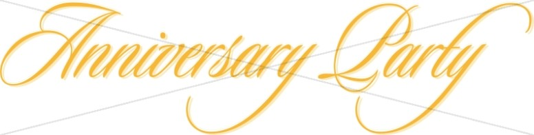 Gold Anniversary Party Flowing Script