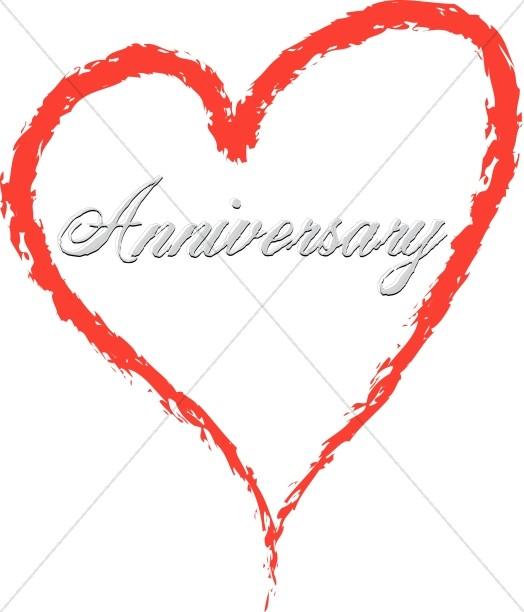 Silver Anniversary Script in a Red Heart